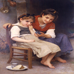 William Bouguereau (1825-1905)  Petite boudeuse [The little sulk]  Oil on canvas, 1888  48 3/8 x 33 3/4 inches (123 x 86 cm)  Rahr-West Museum, Manitowoc